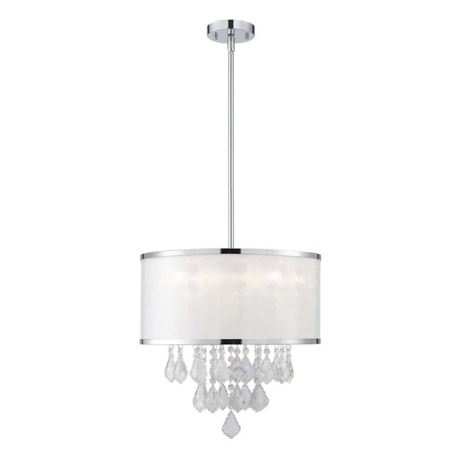 Canarm Reese 15 75 In Chrome Crystal Single Drum Pendant