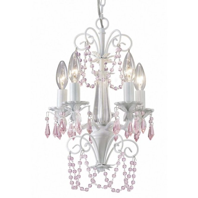 Canarm Danica 12 In 5 Light White Crystal Candle Chandelier