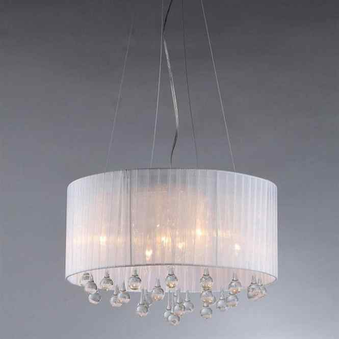Warehouse Of Tiffany 18 In Chrome Crystal Single Drum Pendant