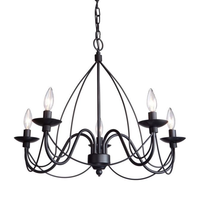 Artcraft Lighting Wrought Iron 24 In 5 Light Ebony Black Candle Chandelier