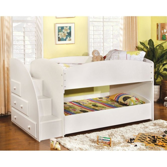 Furniture Of America Merritt White Twin Over Bunk Bed