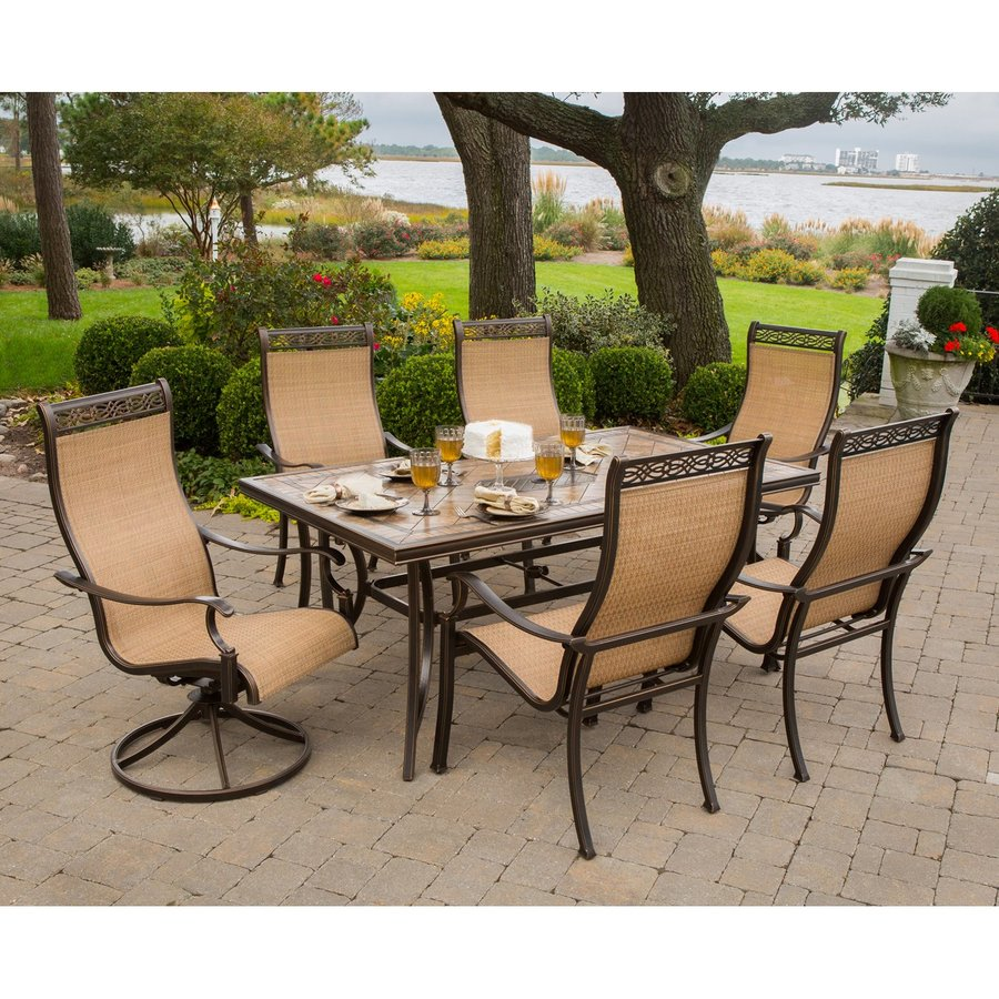 Hanover Outdoor Furniture Monaco Tan Metal Frame Patio Dining Set