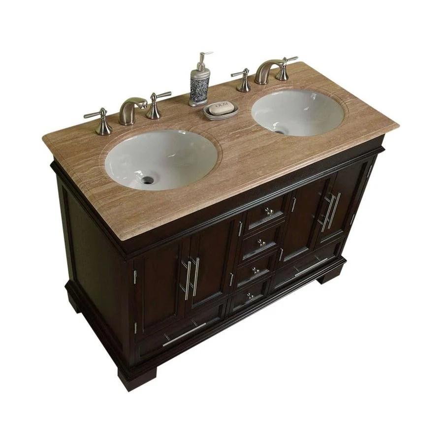 shop silkroad exclusive ashley dark walnut undermount double sink