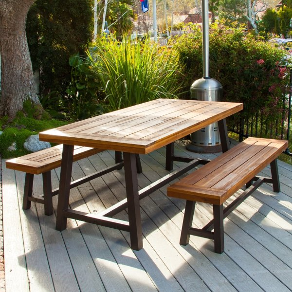Shop Best Selling Home Decor Carlisle 3 Piece Brown Metal Frame     Best Selling Home Decor Carlisle 3 Piece Brown Metal Frame Patio Dining Set