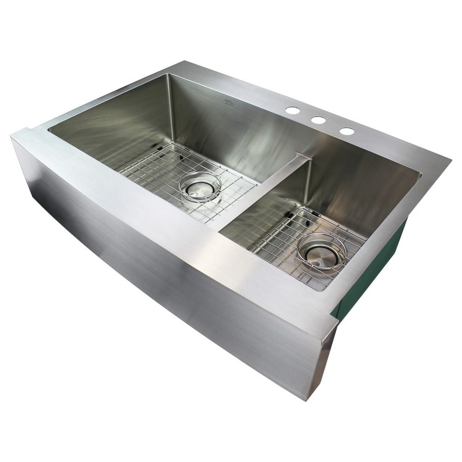 transolid diamond farmhouse apron front 35 75 in x 25 125 in brushed stainless double offset bowl 3 hole kitchen sink all in one kit