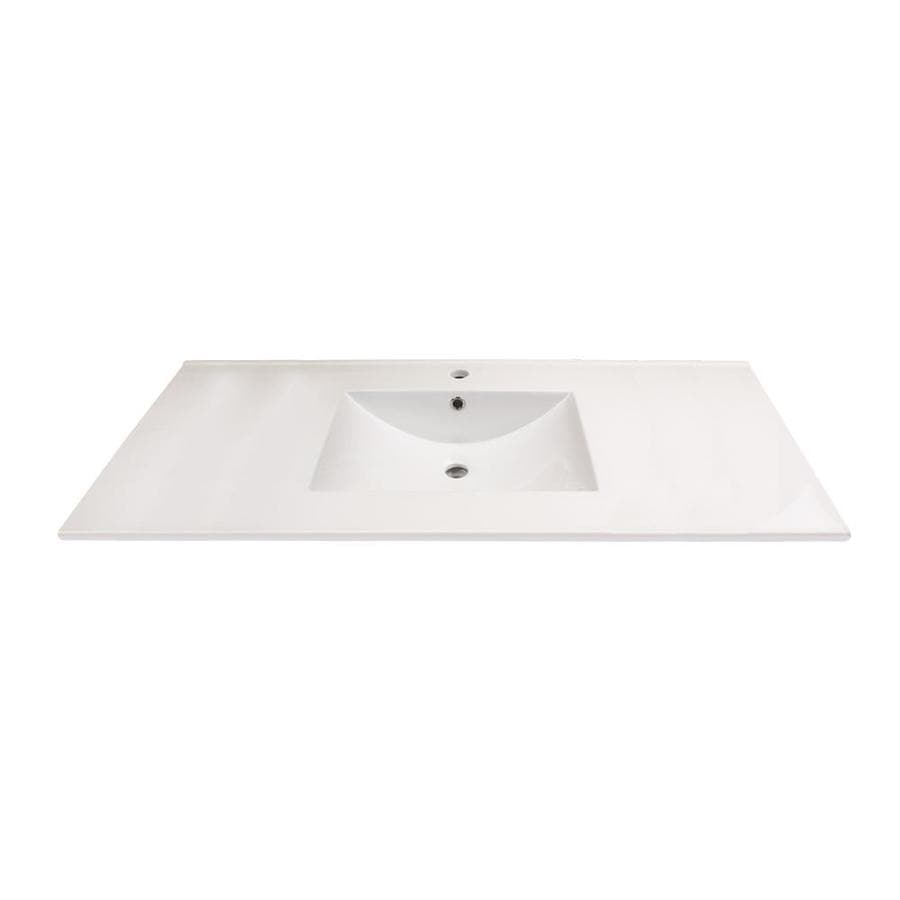 transolid juliette 37 in white vitreous china single sink bathroom vanity top