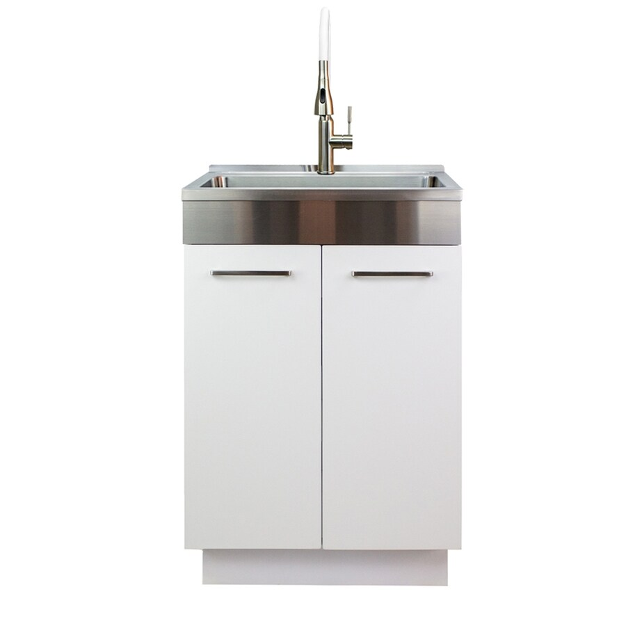 transolid 20 in x 24 in 1 basin white freestanding laundry sink with drain and faucet