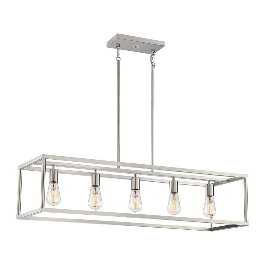 https www lowes com pd quoizel new harbor brushed nickel industrial kitchen island light 1000826042