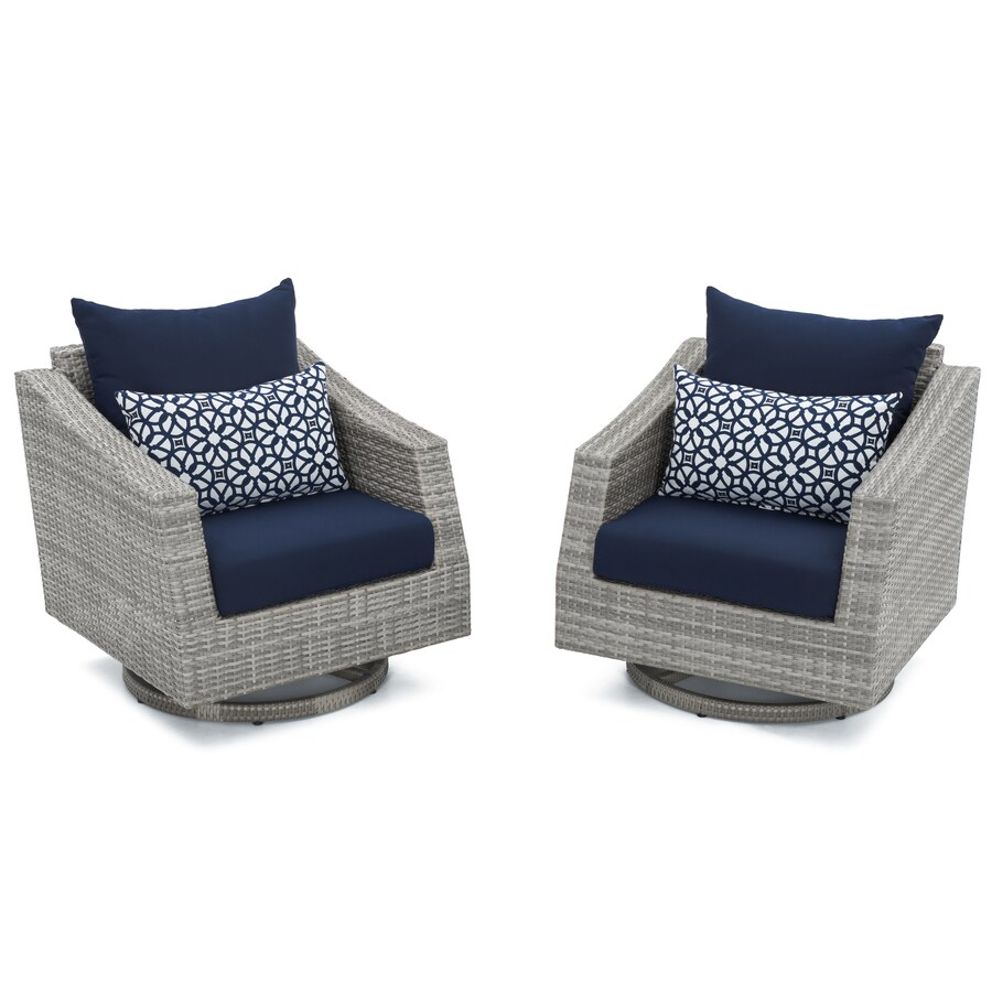 rst brands cannes set of 2 wicker gray metal frame swivel conversation chair s with navy blue sunbrella cushioned seat