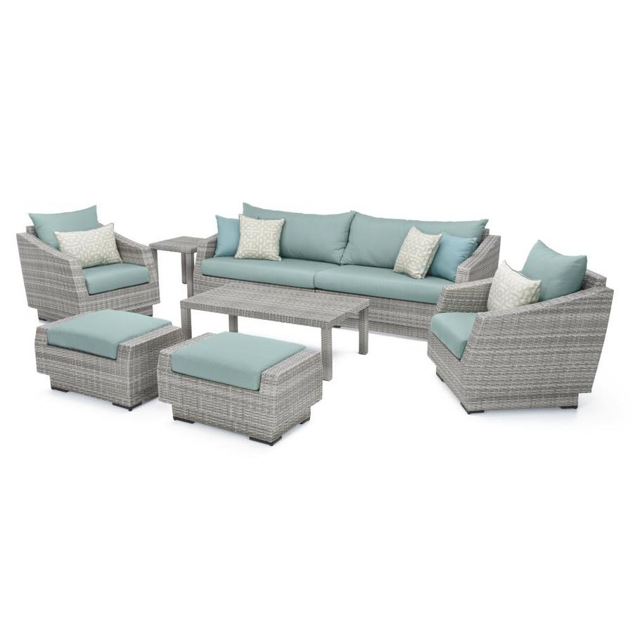 rst brands cannes 8 piece metal frame patio conversation set with sunbrella cushion s included