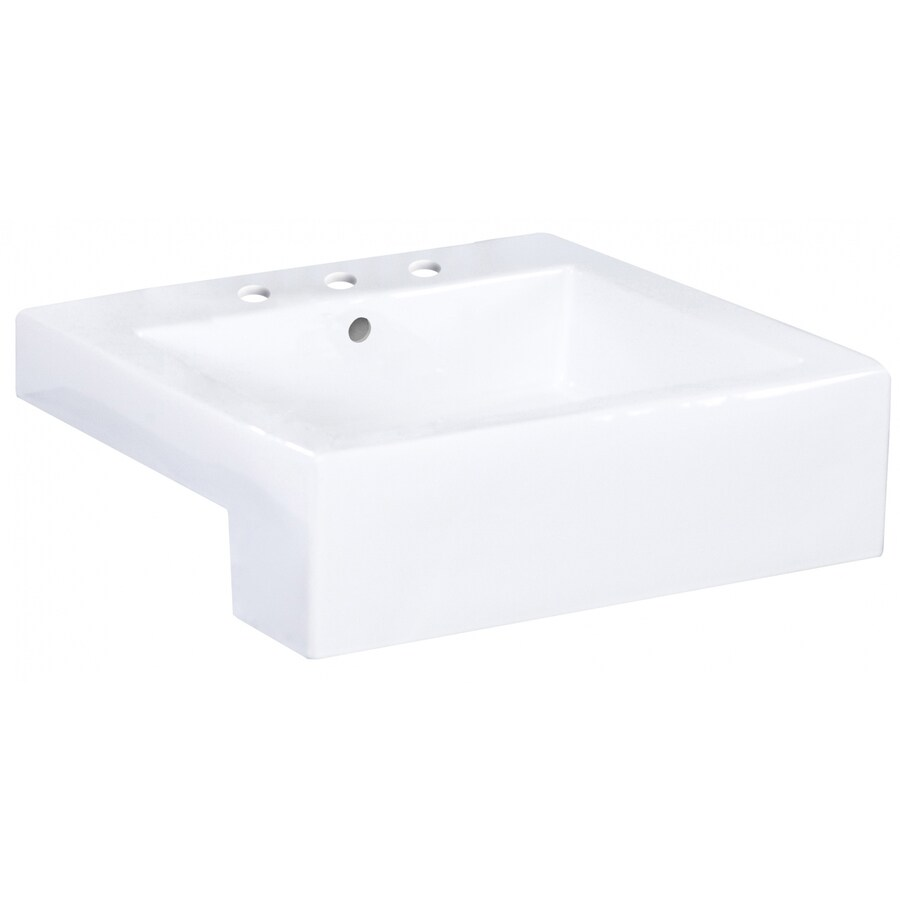 american imaginations xena farmhouse white enamel glaze ceramic vessel rectangular trough bathroom sink 19 in x 20 25 in