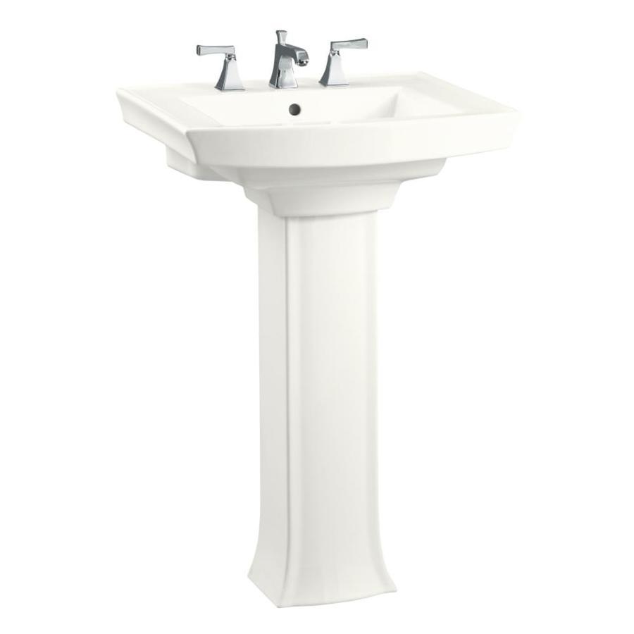 kohler archer 35 25 in h white vitreous china pedestal sink combo
