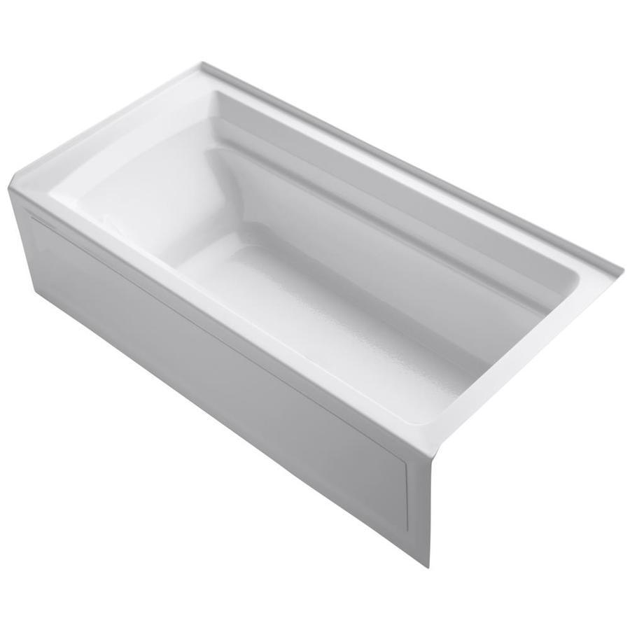 Shop KOHLER Archer 72 In White Acrylic Alcove Bathtub With