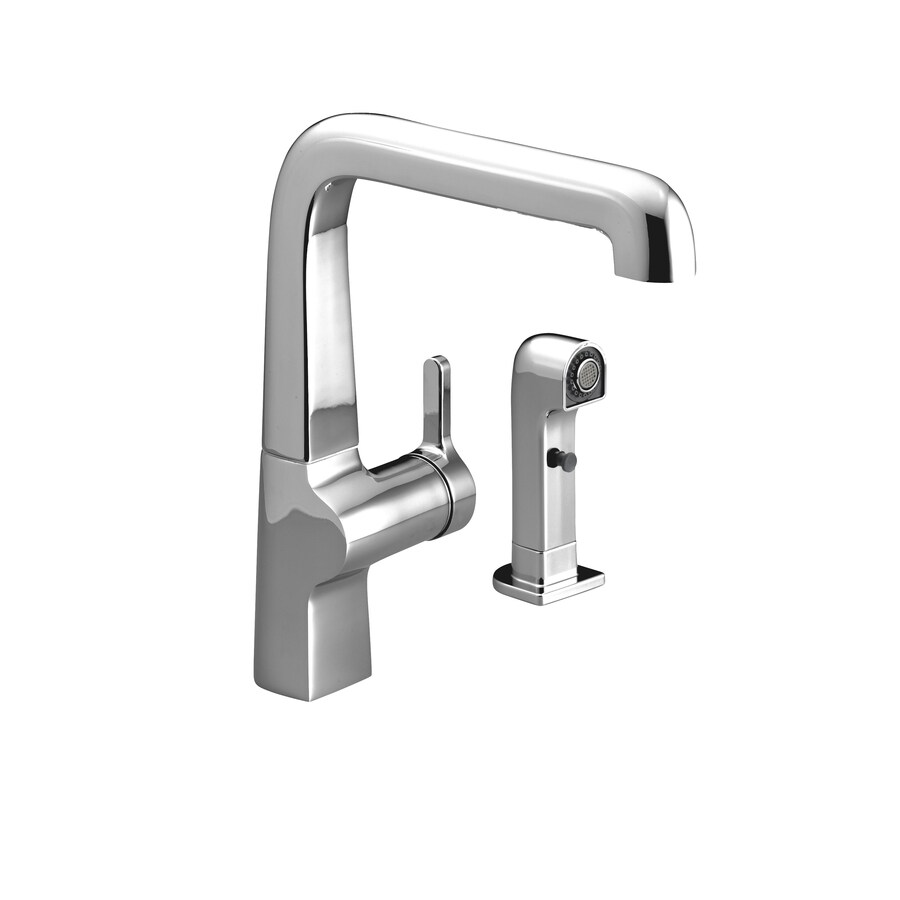 kohler evoke polished chrome 1 handle high arc kitchen faucet with side spray in the kitchen faucets department at lowes com