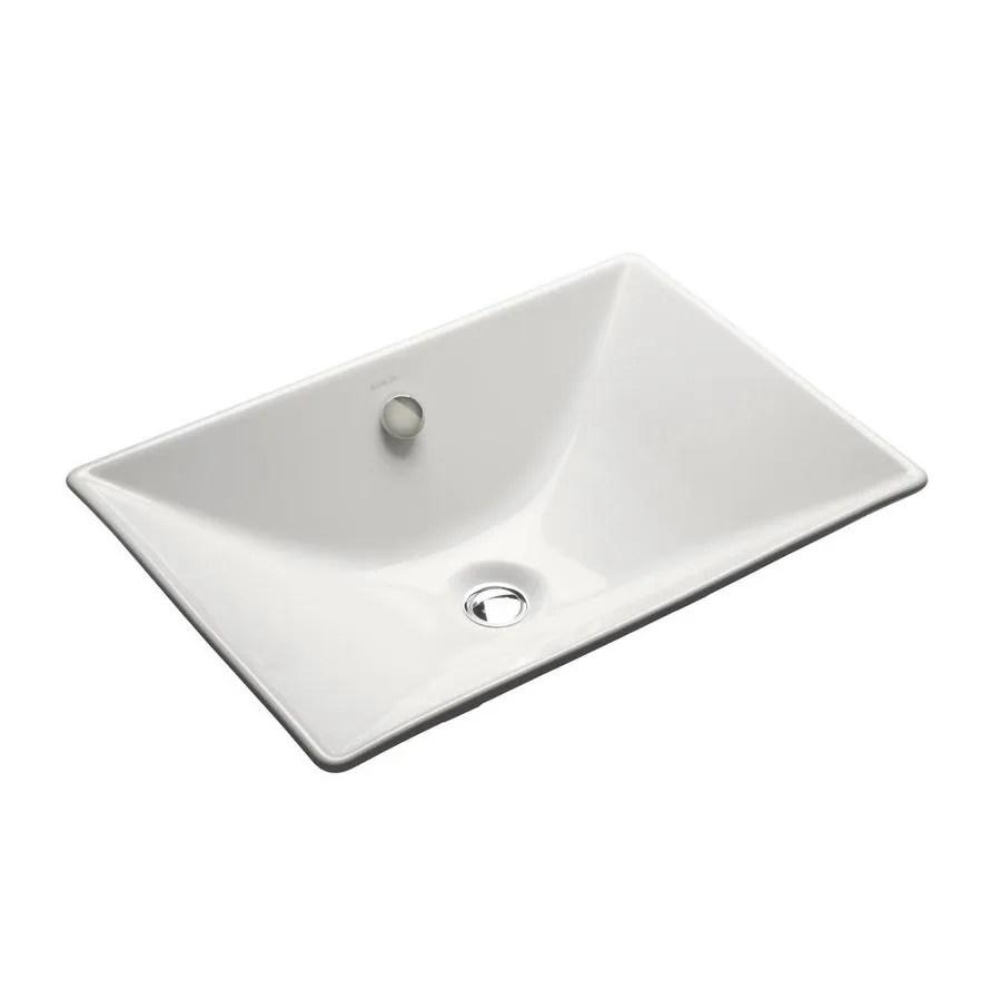 kohler reve white cast iron drop in rectangular bathroom sink with overflow drain 21 625 in x 14 75 in