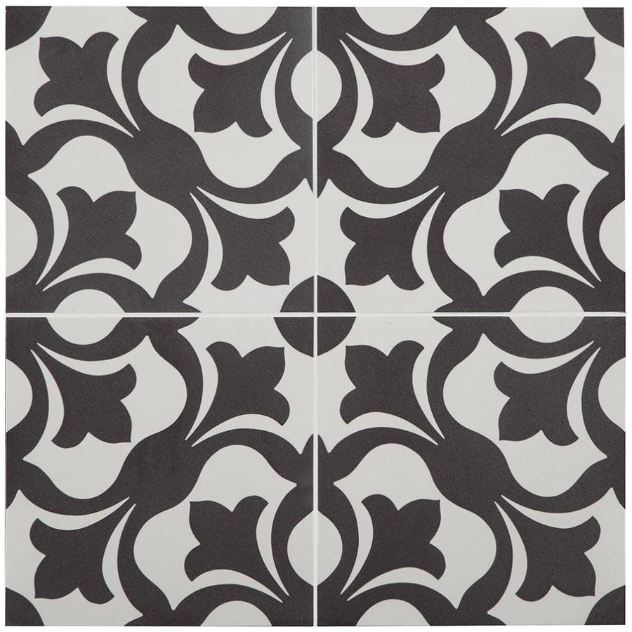 stainmaster florence black and white 9 in x 9 in groutable water resistant peel and stick vinyl tile 0 5625 sq ft