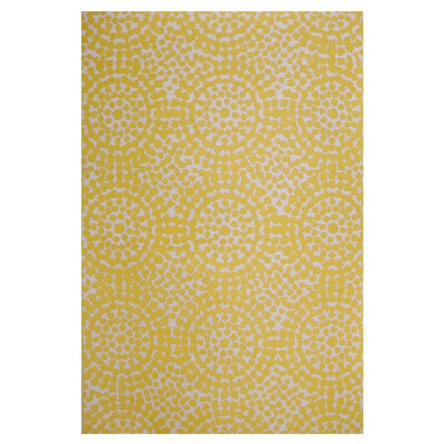 garden treasures gt patio mat 5 x 8 yellow indoor outdoor geometric area rug lowes com