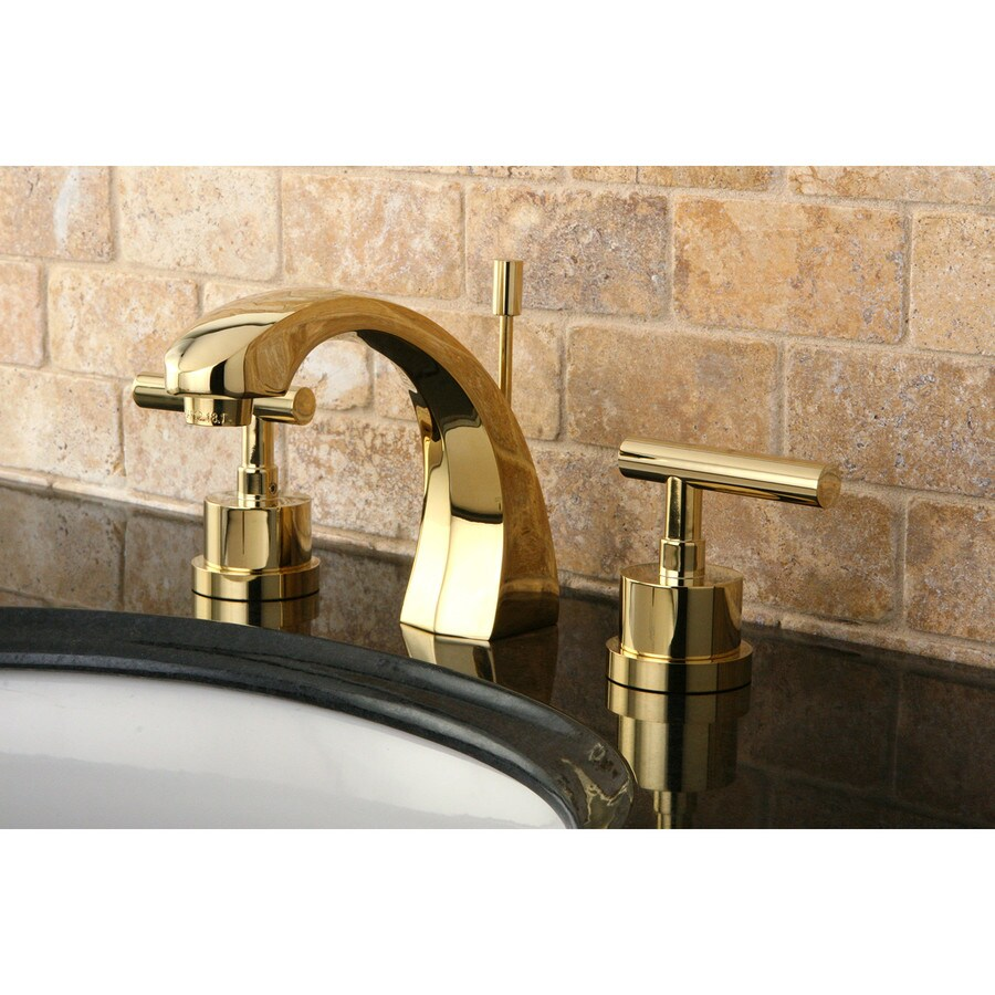 kingston brass vintage polished brass 2 handle widespread bathroom sink faucet with drain
