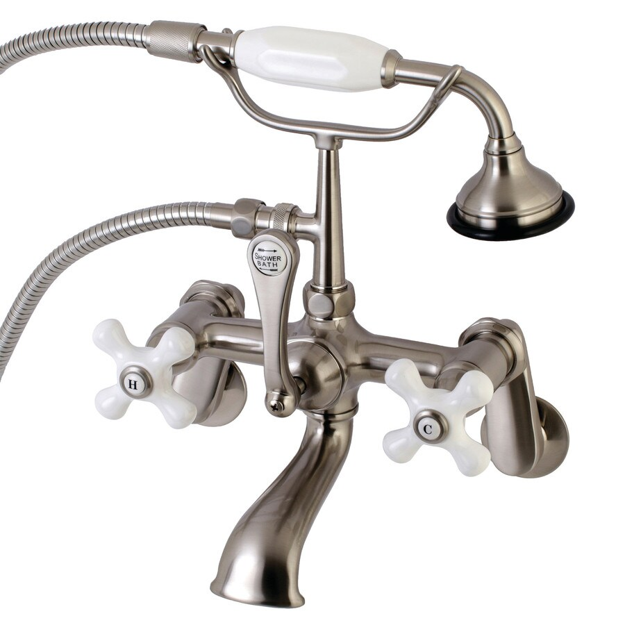 kingston brass aqua vintage brushed nickel 3 handle residential wall mount bathtub faucet with hand shower in the bathtub faucets department at lowes com
