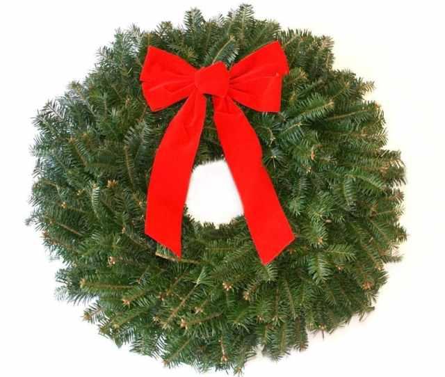 In Fresh Fraser Fir Christmas Wreath With Bow