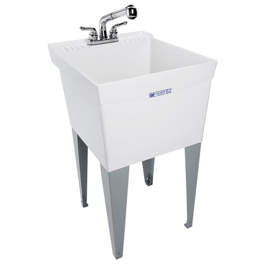 mustee 20 in x 24 in 1 basin white freestanding utility tub with drain and faucet lowes com