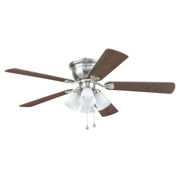 Shop Harbor Breeze Centreville 52 in Brushed Nickel Indoor Flush     Harbor Breeze Centreville 52 in Brushed Nickel Indoor Flush Mount Ceiling  Fan with Light Kit