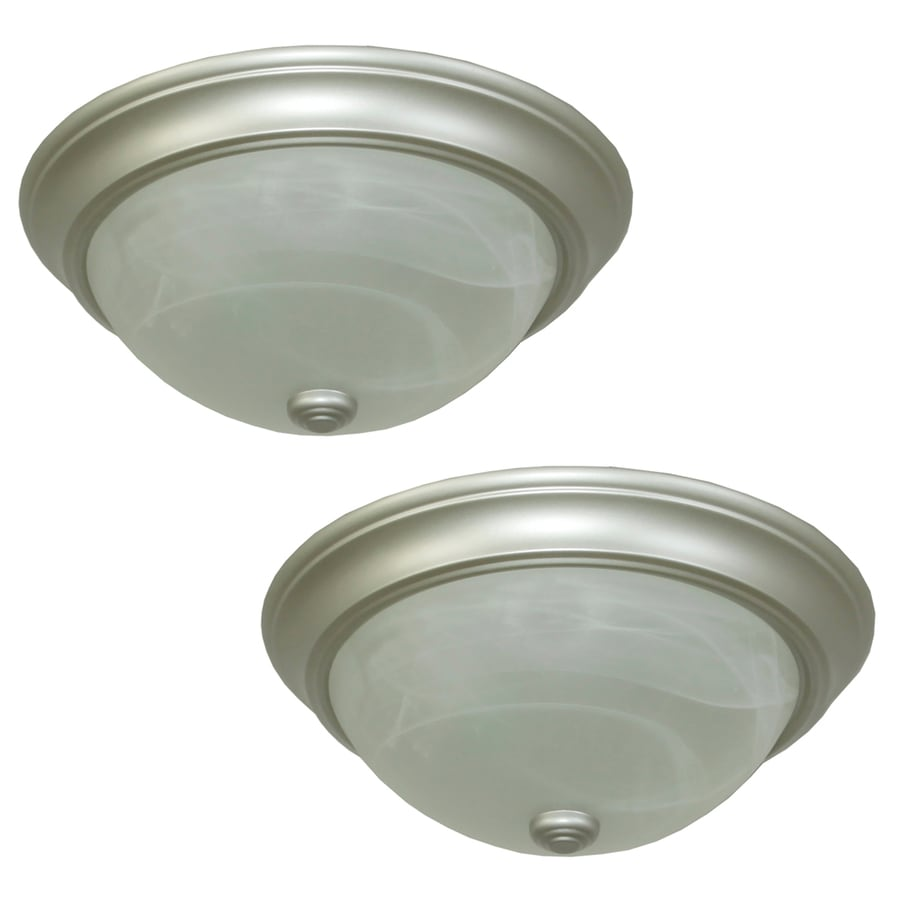 project source 2 pack 13 in satin nickel traditional flush mount light