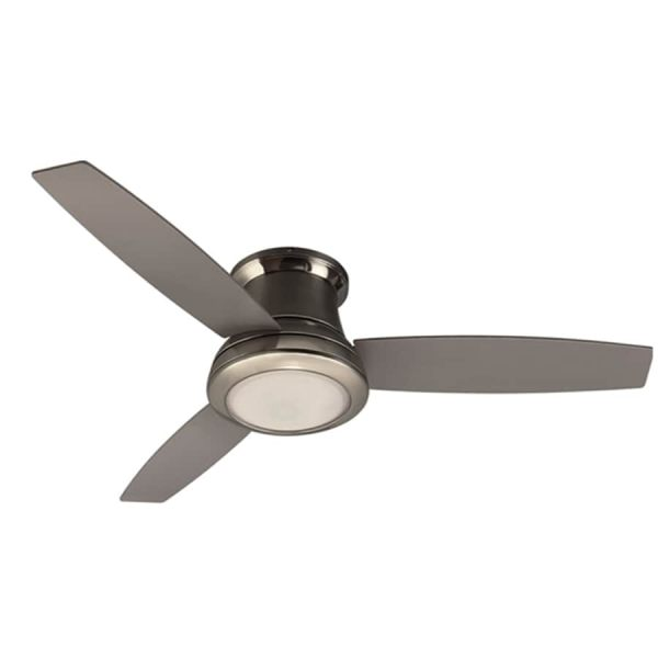 Shop Harbor Breeze Sail Stream 52 in Brushed nickel Indoor Flush     Harbor Breeze Sail Stream 52 in Brushed nickel Indoor Flush Mount Ceiling  Fan with Light