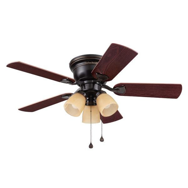 Shop Harbor Breeze Centreville 42 in Oil Rubbed Bronze Indoor Flush     Harbor Breeze Centreville 42 in Oil Rubbed Bronze Indoor Flush Mount  Ceiling Fan with