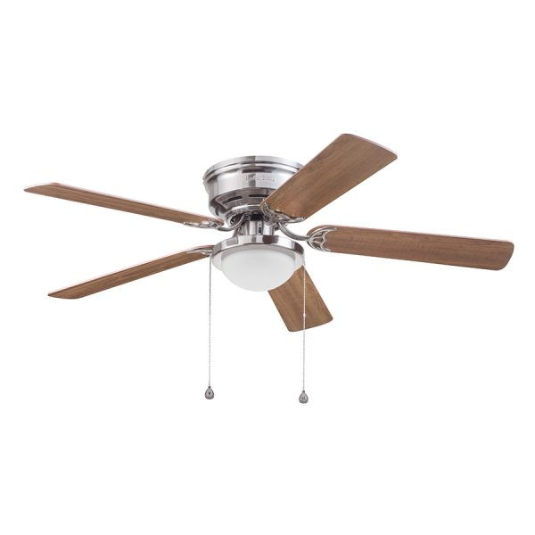 Shop Ceiling Fans at Lowes com Harbor Breeze Armitage 52 in Brushed Nickel Indoor Flush Mount Ceiling Fan  with Light Kit