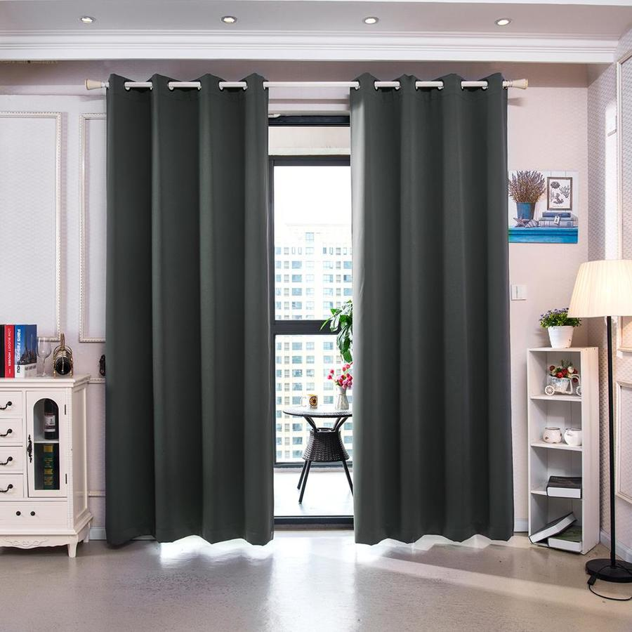 elegant home fashions 72 in smoke grey polyester blackout thermal lined grommet curtain panel pair