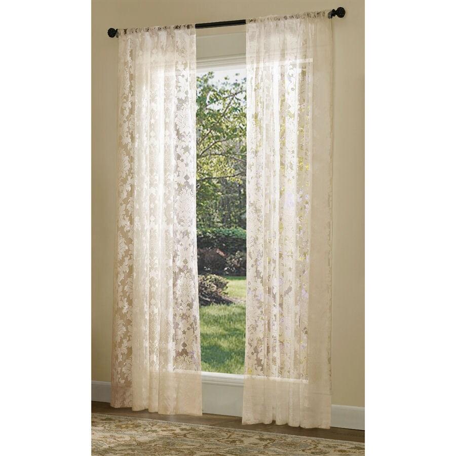 allen roth bristol sheer curtain 84 in l solid ivory rod pocket sheer curtain
