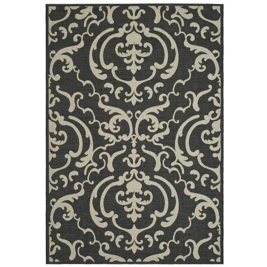 safavieh courtyard damask medallion 8 x 11 black sand indoor outdoor floral botanical coastal area rug
