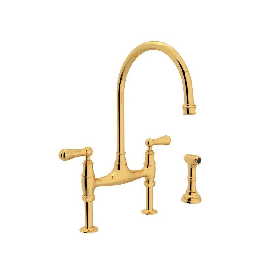 rohl perrin and rowe english gold 2 handle deck mount bridge handle kitchen faucet