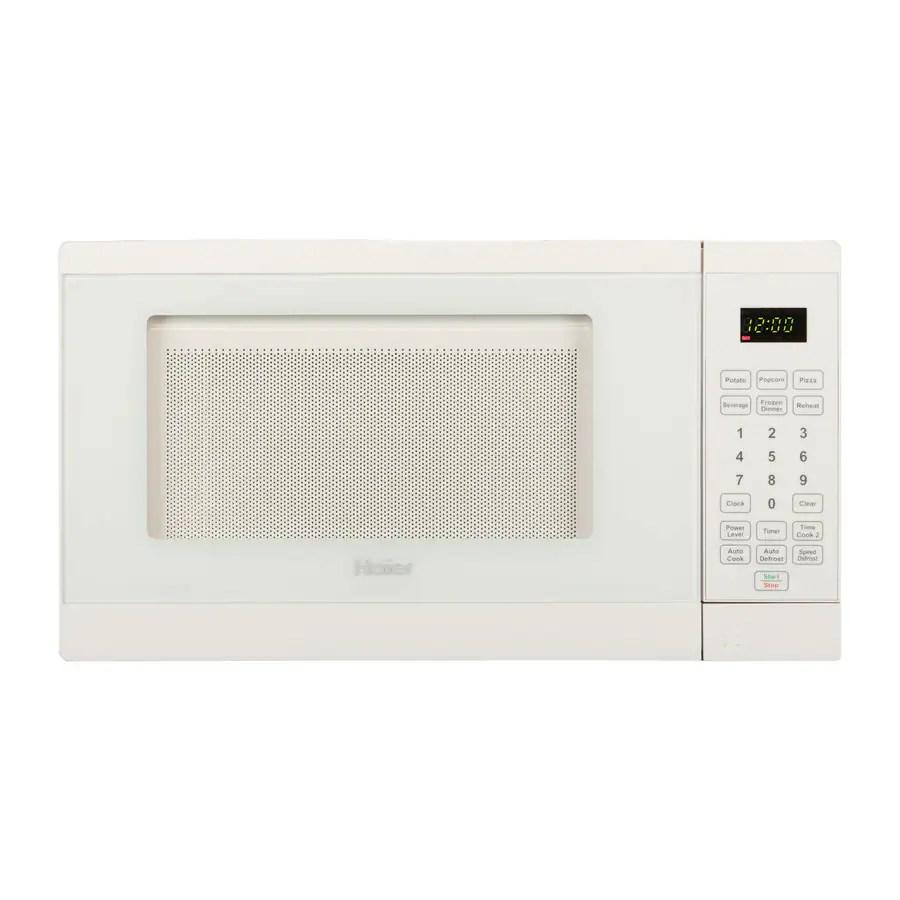 haier 0 7 cu ft 700 watt countertop microwave white