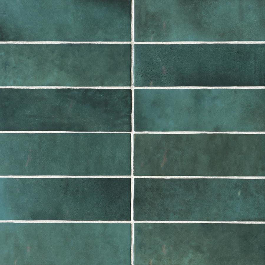 bedrosians cloe 76 pack green 2 1 2 in x 8 in glossy ceramic subway wall tile