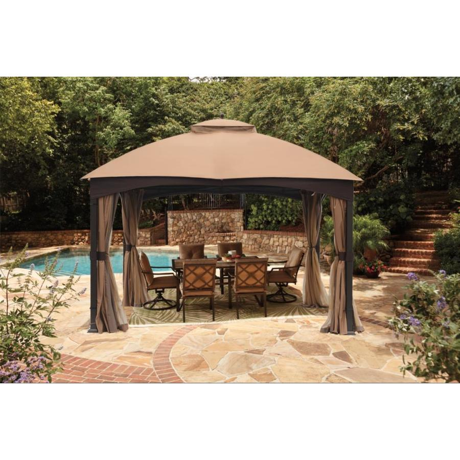 allen roth manufacturer s color is brown metal rectangle screened gazebo exterior 10 662 ft x 12 795 ft foundation 10 ft x 12 ft
