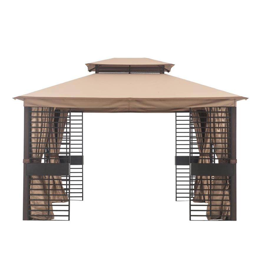 style selections dark brown frame woodgrain posts and tan fabric metal rectangle screened semi permanent gazebo exterior 10 7 ft x 12 68 ft