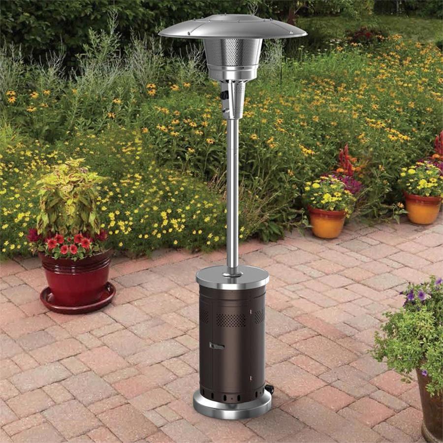 garden treasures 47000 btu mocha steel floorstanding liquid propane patio heater lowes com