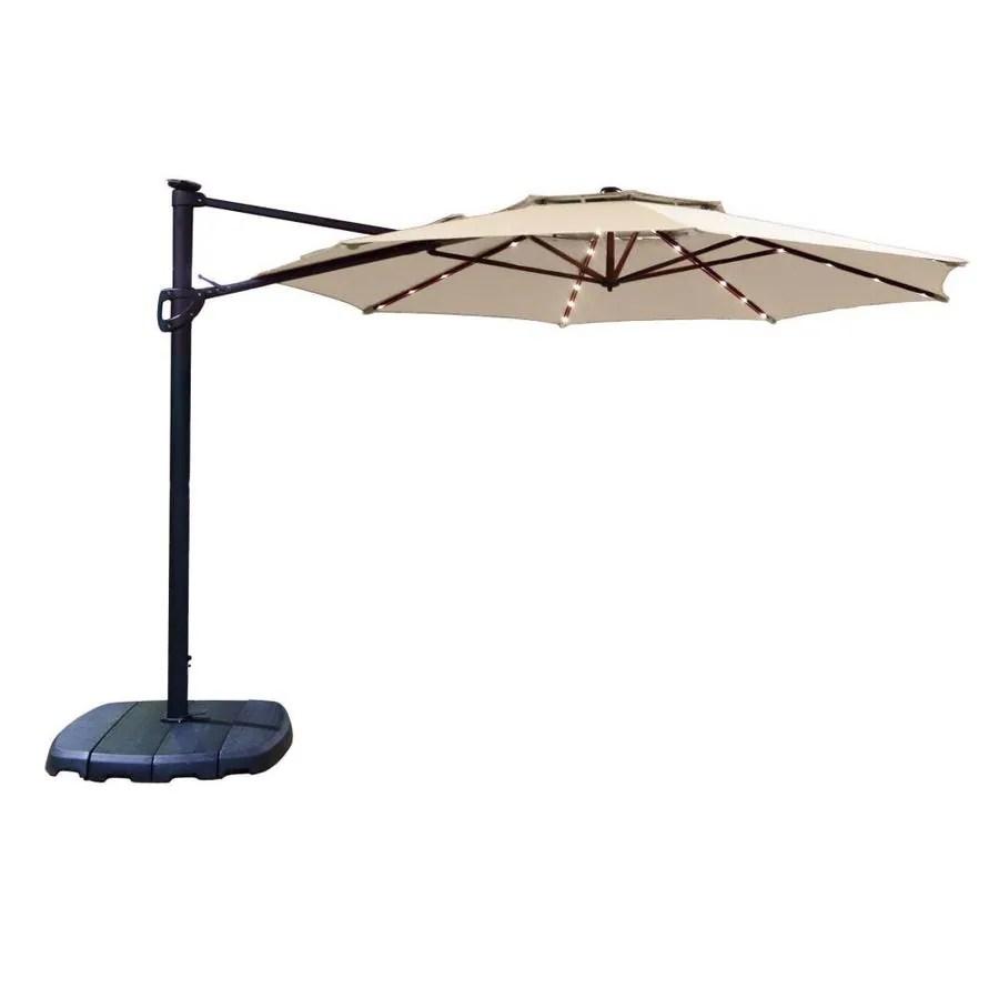 simplyshade 11 ft tan solar powered auto tilt cantilever patio umbrella with base lowes com