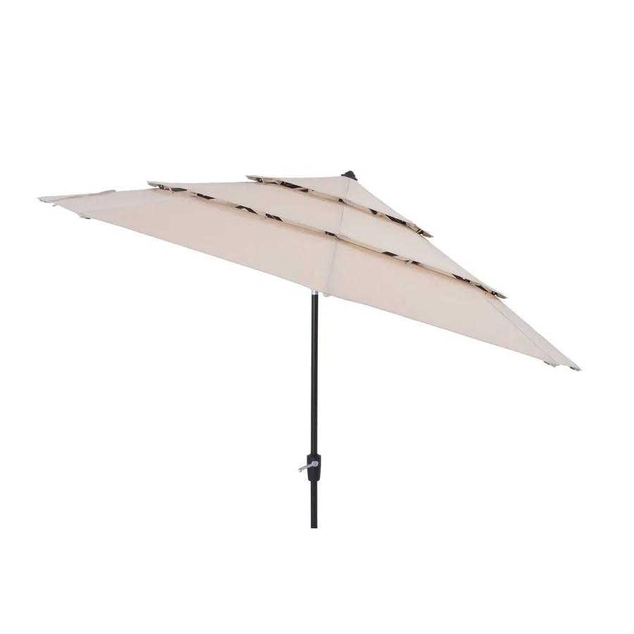simplyshade 11 ft tan auto tilt market patio umbrella lowes com