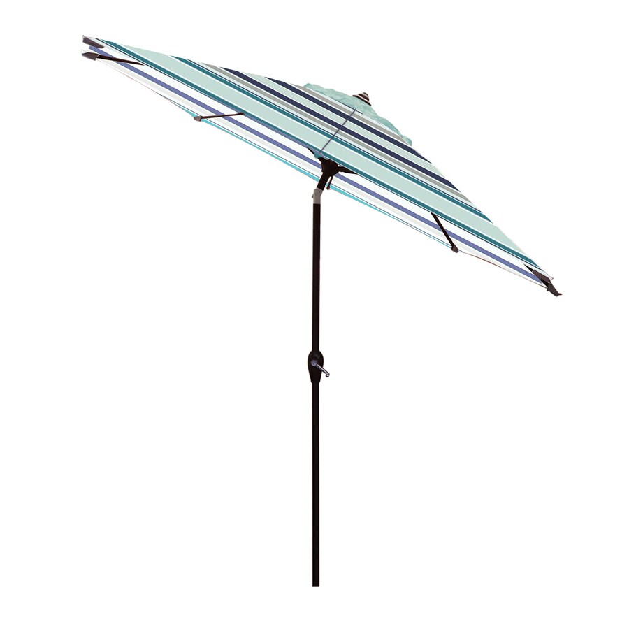 allen roth 9 ft blue auto tilt market patio umbrella lowes com