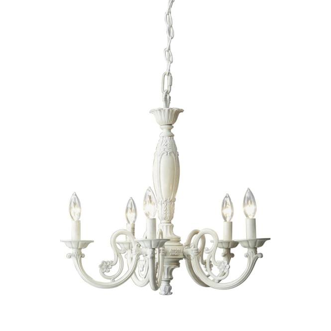 Style Selections 22 In 5 Light Antique White Standard Chandelier