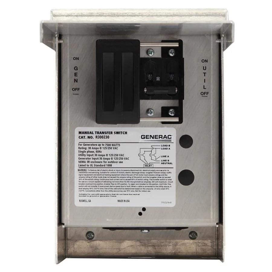 Shop Generac 30 Amp Single Circuit Manual Transfer Switch