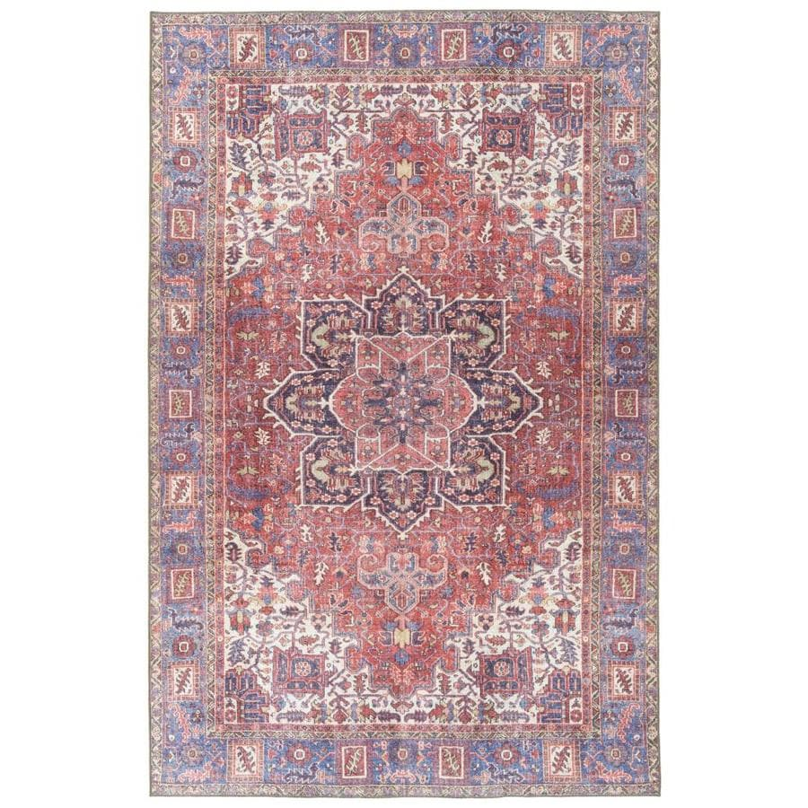 kaleen boho patio 5 x 8 red indoor outdoor distressed overdyed vintage area rug