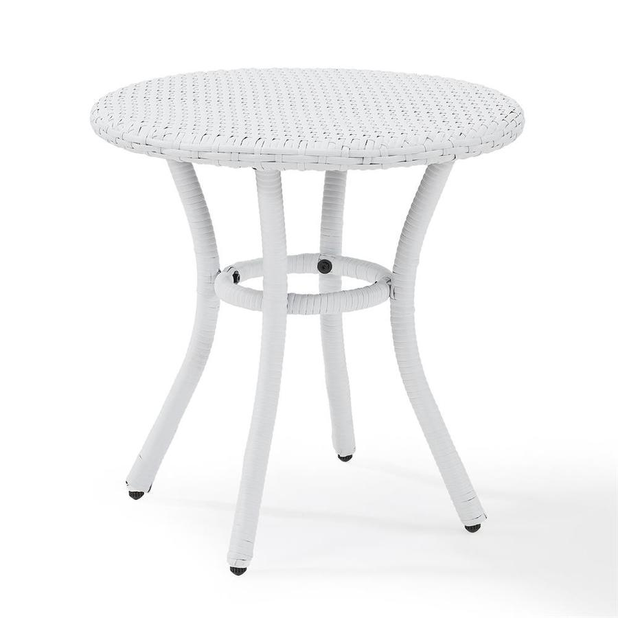 crosley furniture palm harbor round wicker outdoor end table 20 in w x 20 in l with