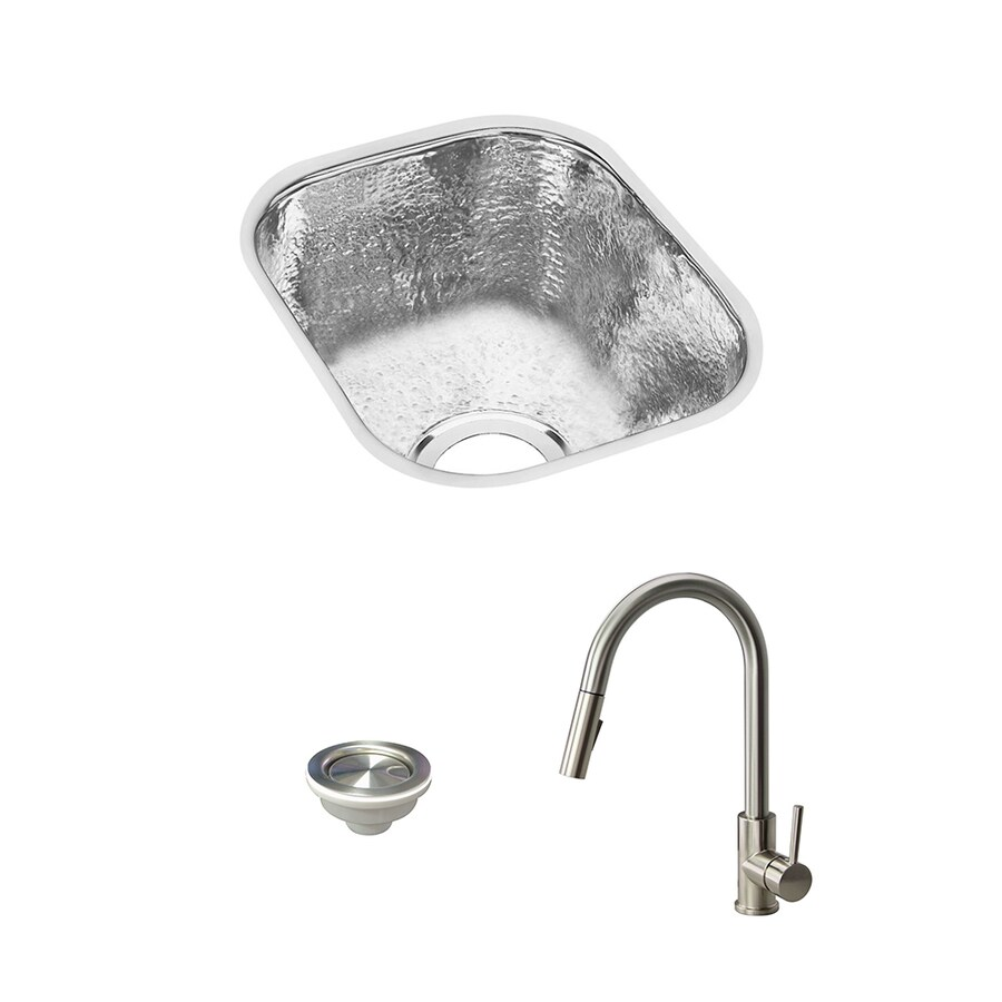 elkay gourmet undermount 10 in x 12 in hammered mirror single bowl kitchen sink all in one kit