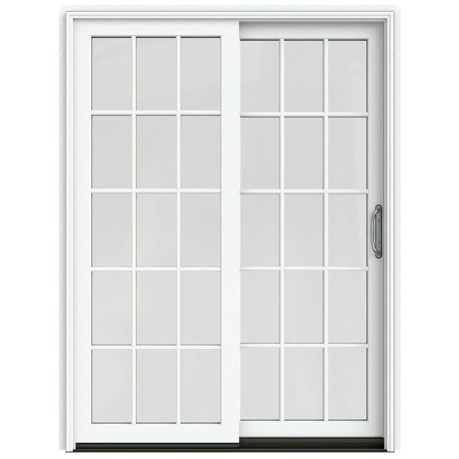 jeld wen 60 in x 80 in simulated divided light white clad wood right hand double door sliding patio door with screen in the patio doors department at lowes com