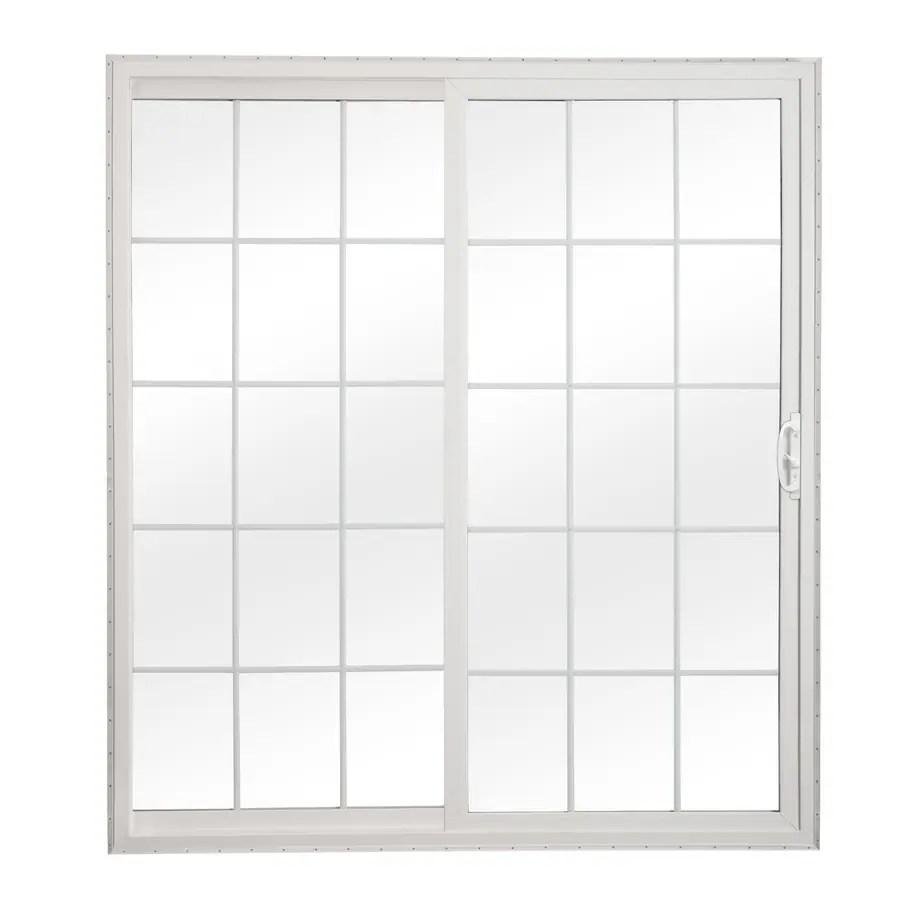 reliabilt 72 in x 80 in grilles between the glass white vinyl universal reversible double door sliding patio door