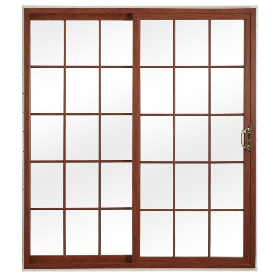 reliabilt 72 in x 80 in grilles between the glass white vinyl universal reversible double door sliding patio door in the patio doors department at lowes com